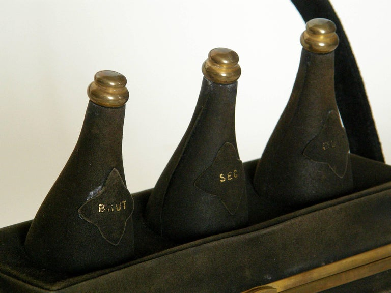 Black Suede Handbag Shaped Like a Crate of Champagne Bottles For Sale 3