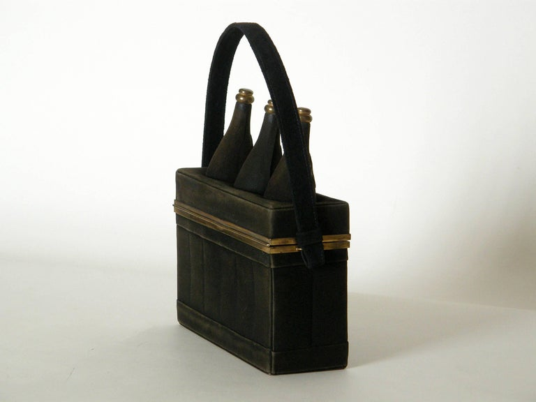 Women's or Men's Black Suede Handbag Shaped Like a Crate of Champagne Bottles For Sale
