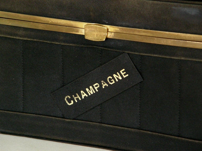 Black Suede Handbag Shaped Like a Crate of Champagne Bottles For Sale 2