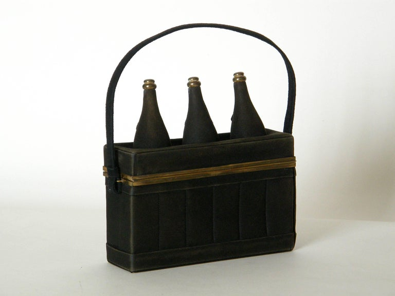 Black Suede Handbag Shaped Like a Crate of Champagne Bottles In Fair Condition For Sale In Chicago, IL