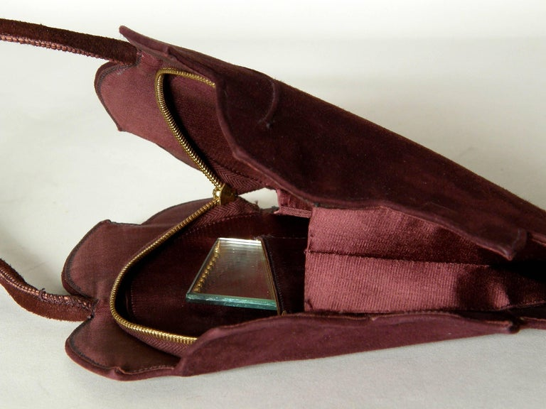 Women's or Men's Leaf Shaped Handbag in Aubergine Colored Suede For Sale