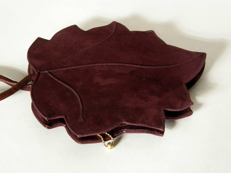 Black Leaf Shaped Handbag in Aubergine Colored Suede For Sale