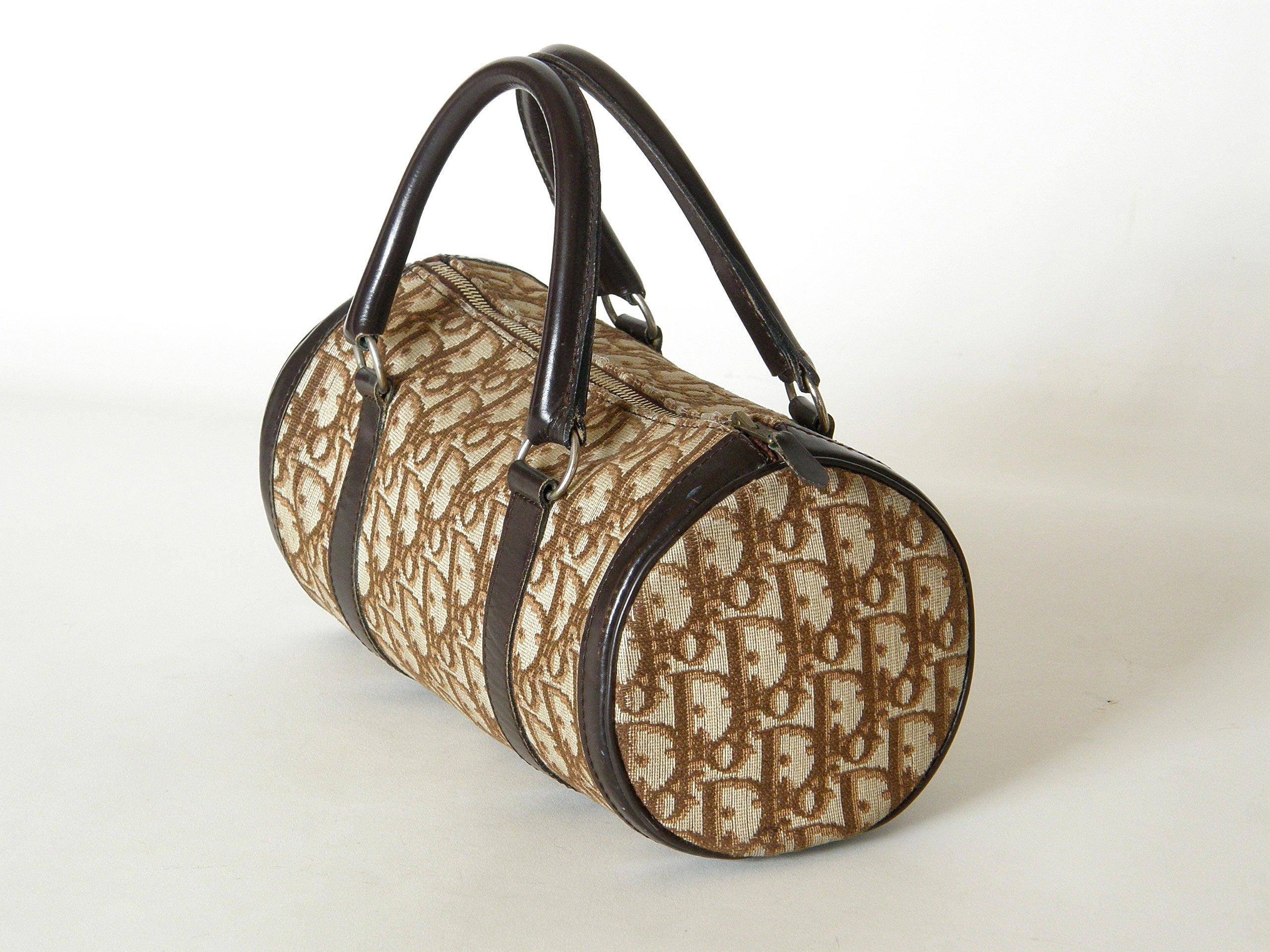 Dior Petite Christian Dior Logo Fabric And Leather Cylinder Handbag PUOqh8TeB