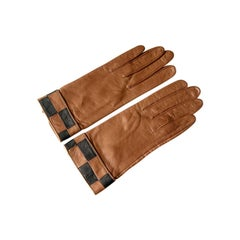 Pierre Cardin Brown Leather Gloves with Checkerboard Cuffs