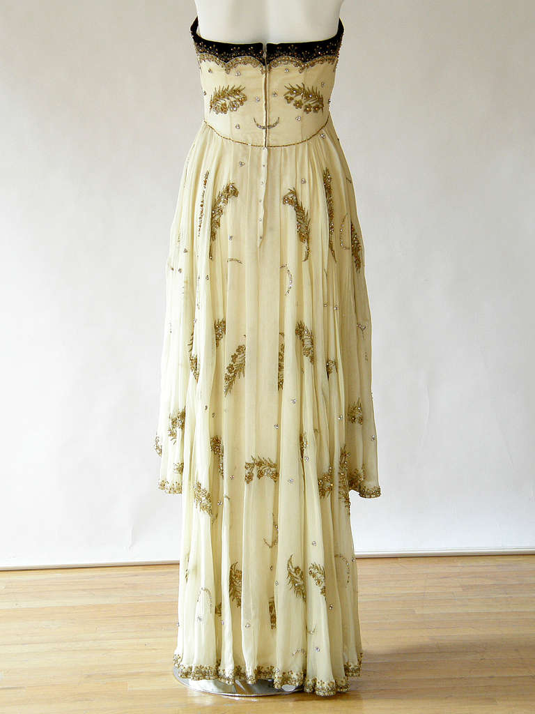 Beige Cecil Beaton Strapless Evening Gown Silk Satin & Beaded Chiffon with Rhinestones For Sale
