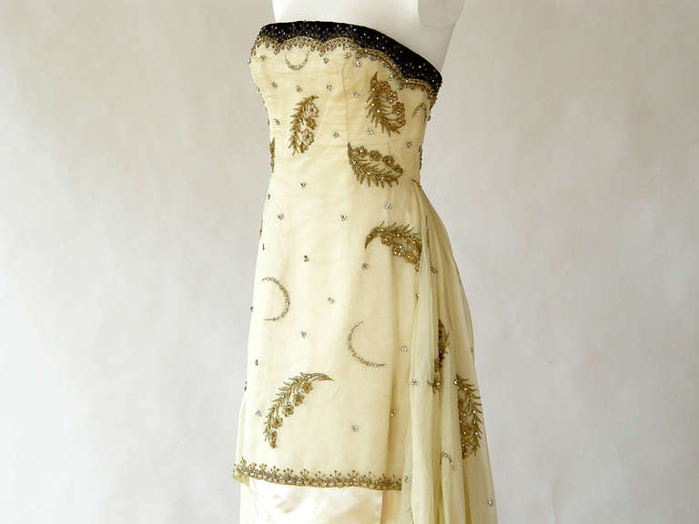 Women's Cecil Beaton Strapless Evening Gown Silk Satin & Beaded Chiffon with Rhinestones For Sale