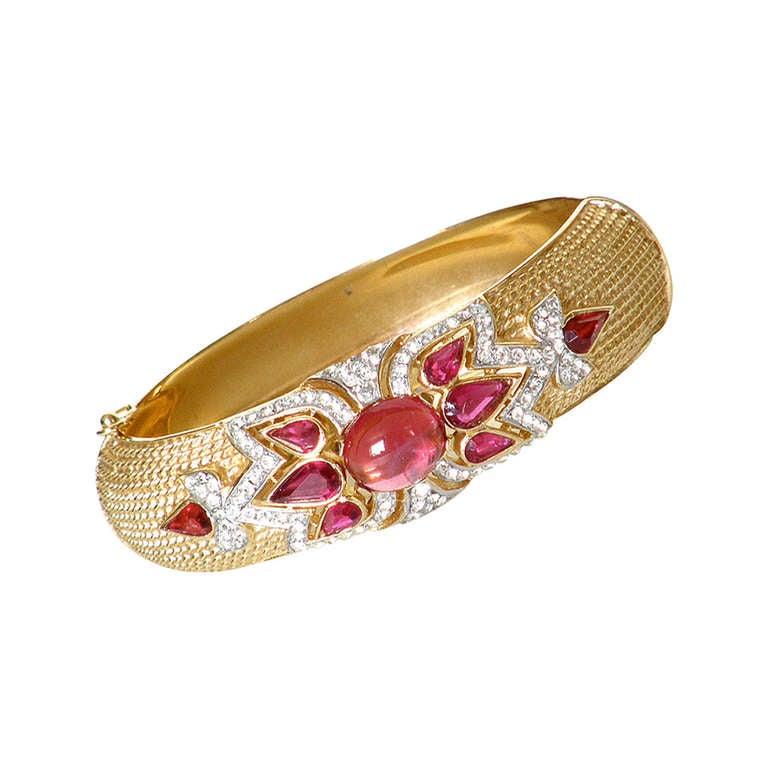 trifari quot jewels of india quot ruby bracelet at 1stdibs