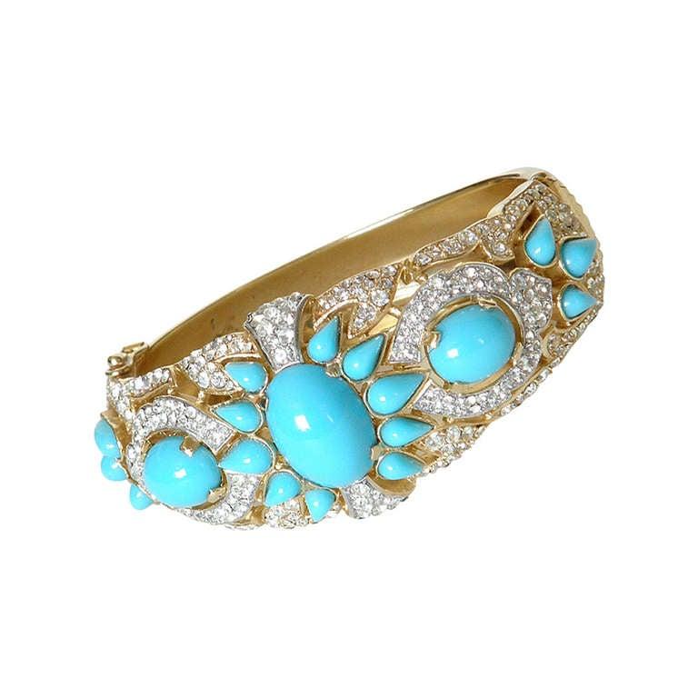 Trifari Quot Jewels Of India Quot Turquoise Bracelet At 1stdibs