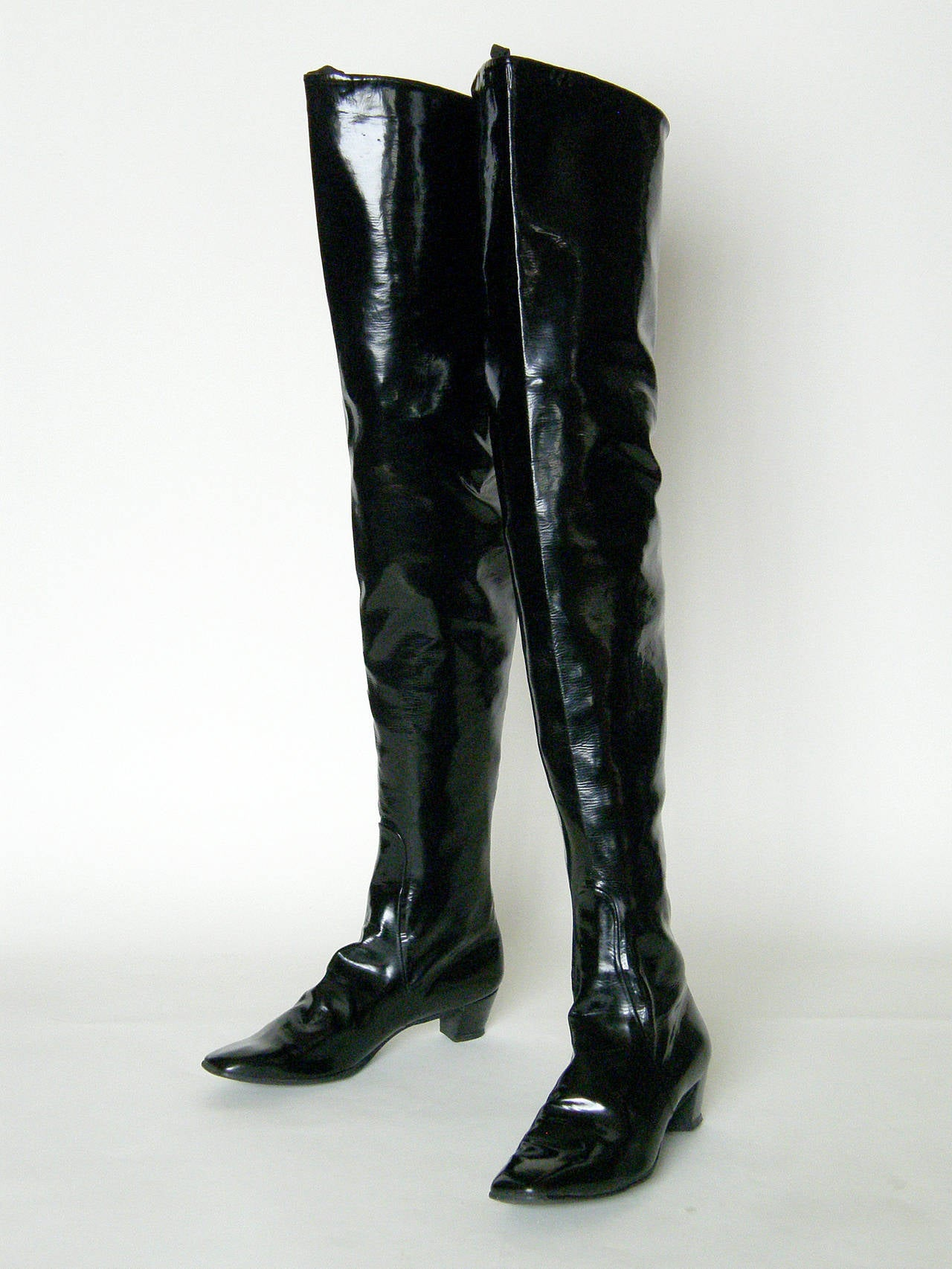 Beth Levine Thigh High Black Vinyl Boots at 1stdibs