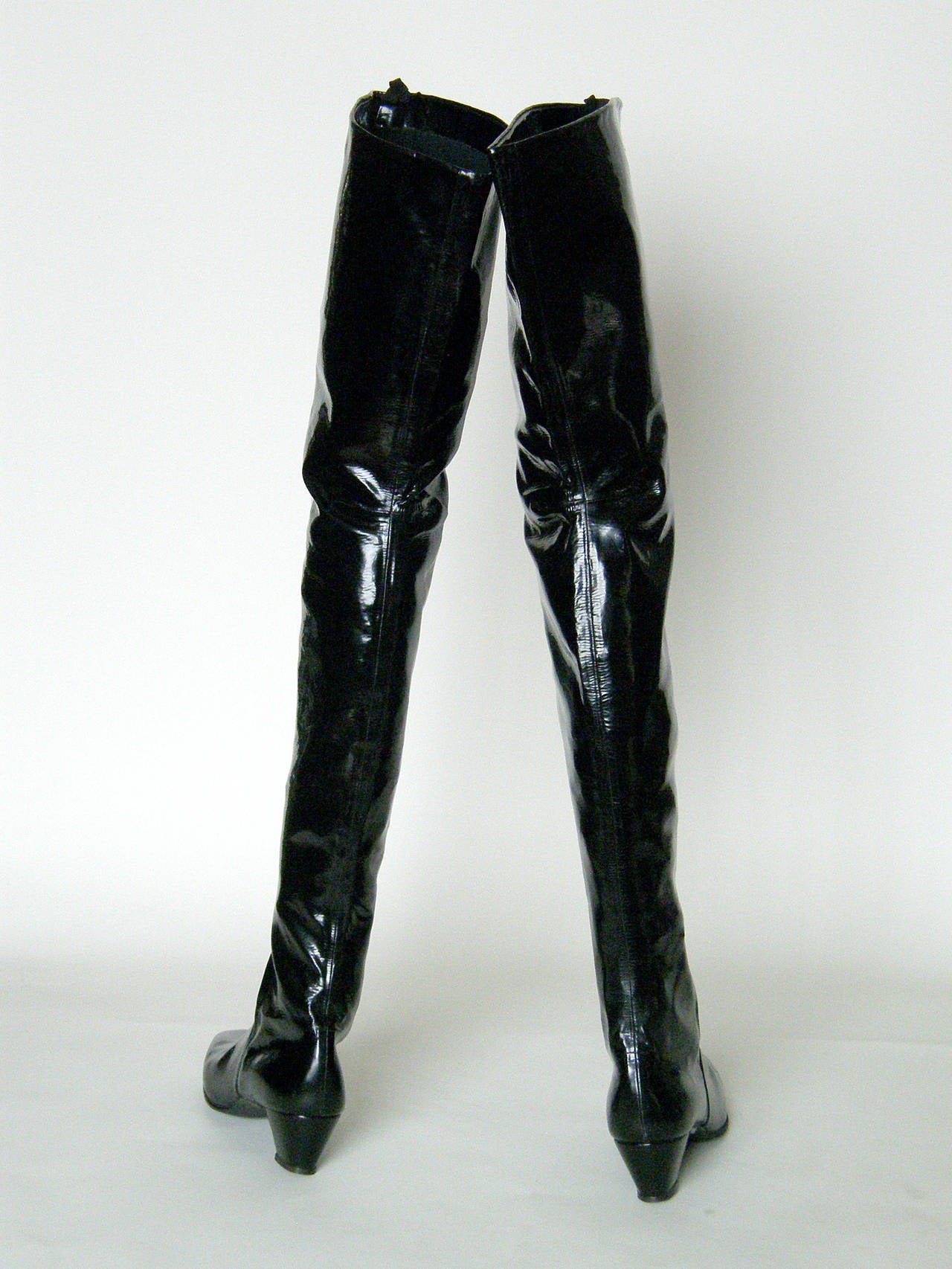 Vinyl Thigh High Boots - Boot Hto