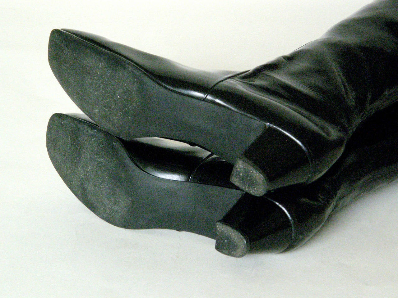d3e410c04 Beth Levine Thigh High Black Vinyl Boots at 1stdibs