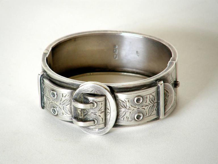 Victorian Sterling Buckle Bracelet For Sale 2