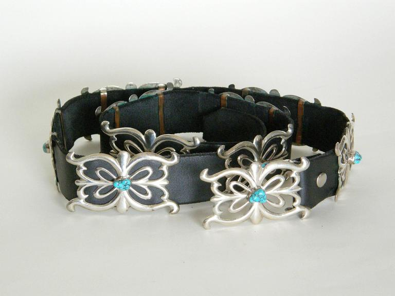 Black Native American Sterling and Turquoise Concho Belt For Sale