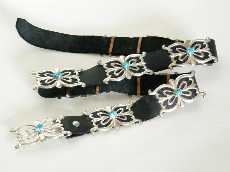 Women's or Men's Native American Sterling and Turquoise Concho Belt For Sale