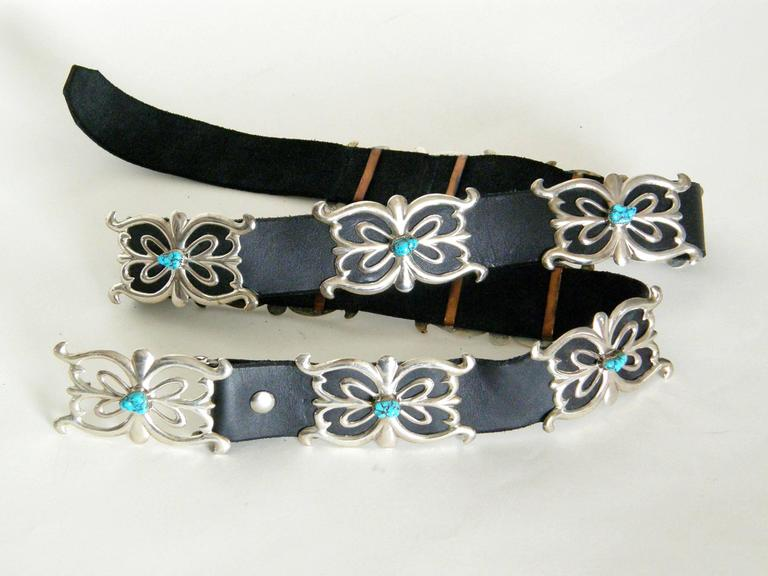 Native American Sterling and Turquoise Concho Belt For Sale 1