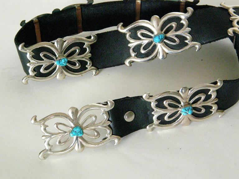Native American Sterling and Turquoise Concho Belt For Sale 2