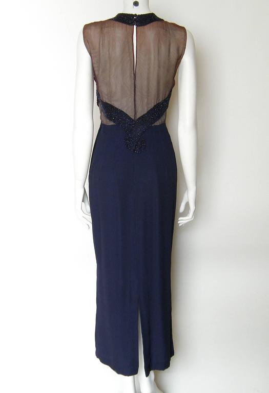 Nude Illusion Wiggle Fit Beaded Party Dress In Good Condition For Sale In Chicago, IL