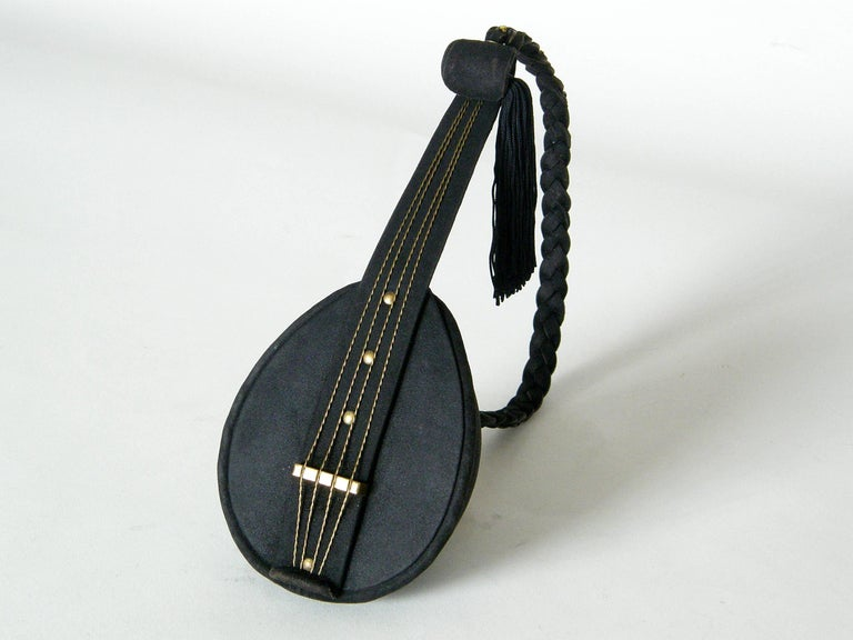 Jeanne Bernard of Paris Black Suede Mandolin Shaped Handbag   In Good Condition For Sale In Chicago, IL