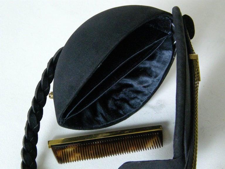 Jeanne Bernard of Paris Black Suede Mandolin Shaped Handbag   For Sale 3