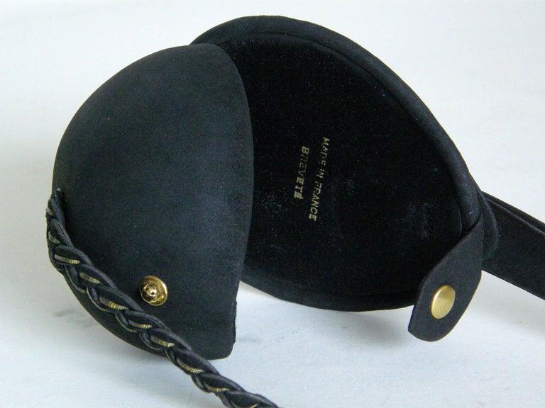 Jeanne Bernard of Paris Black Suede Mandolin Shaped Handbag   For Sale 2