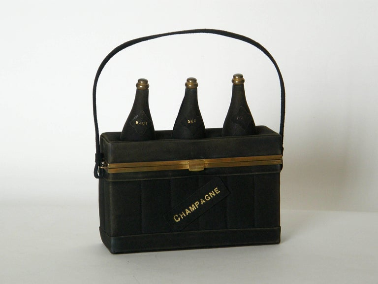 Black Suede Handbag Shaped Like a Crate of Champagne Bottles For Sale 6