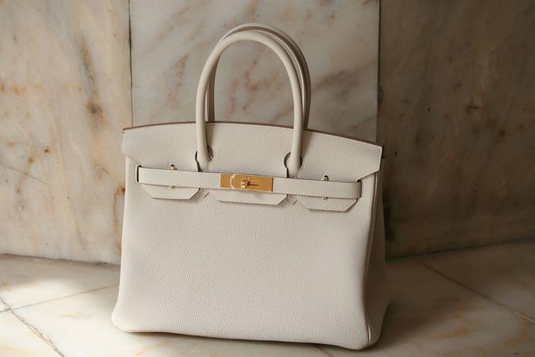 HERMES Birkin Craie Togo 30' In New Never_worn Condition For Sale In Monte Carlo, MC