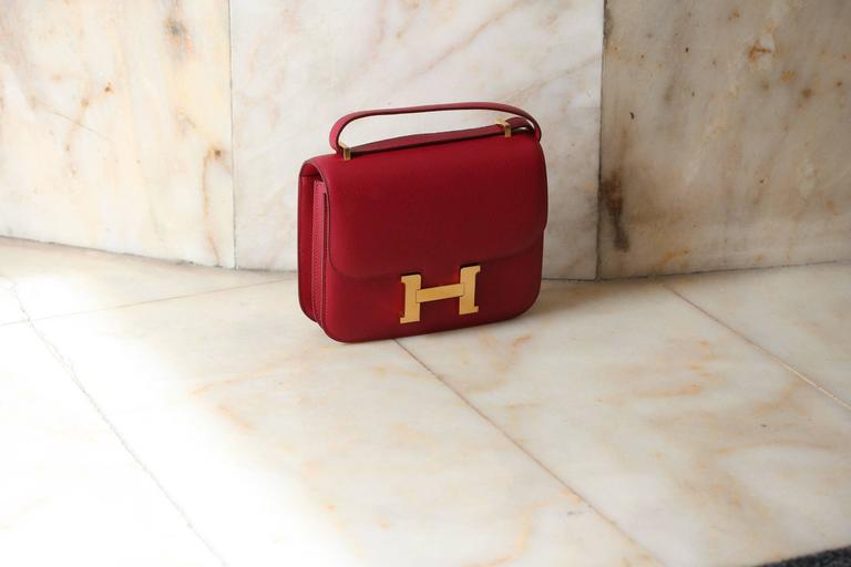 Red HERMES Constance Mini Epsom Rubis 18' For Sale