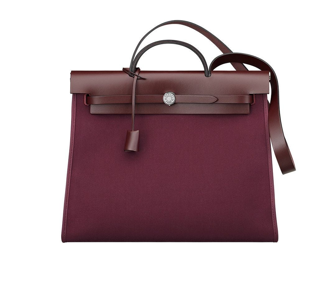 Hermes Herbag 31 Bag In Plum Officer Canvas And Hunter Cowhide Silver