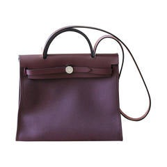 HERMES Herbag 31' Bag in plum Officer canvas and plum Hunter cowhid