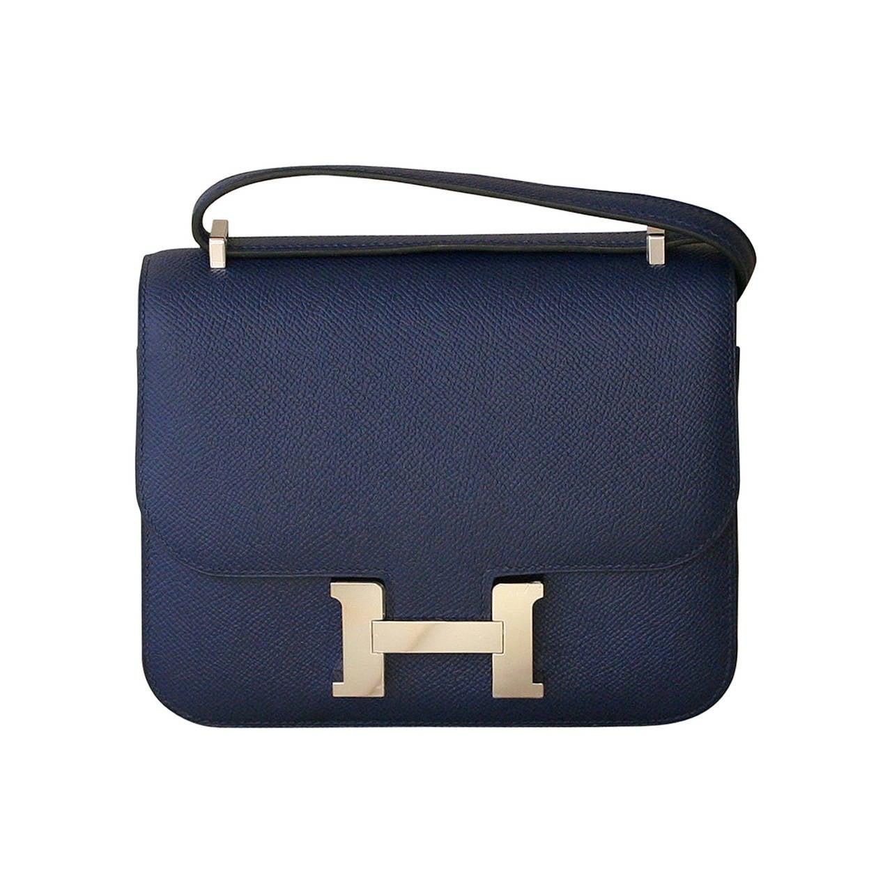 HERMES Constance Mini Epsom Sapphire blue at 1stdibs