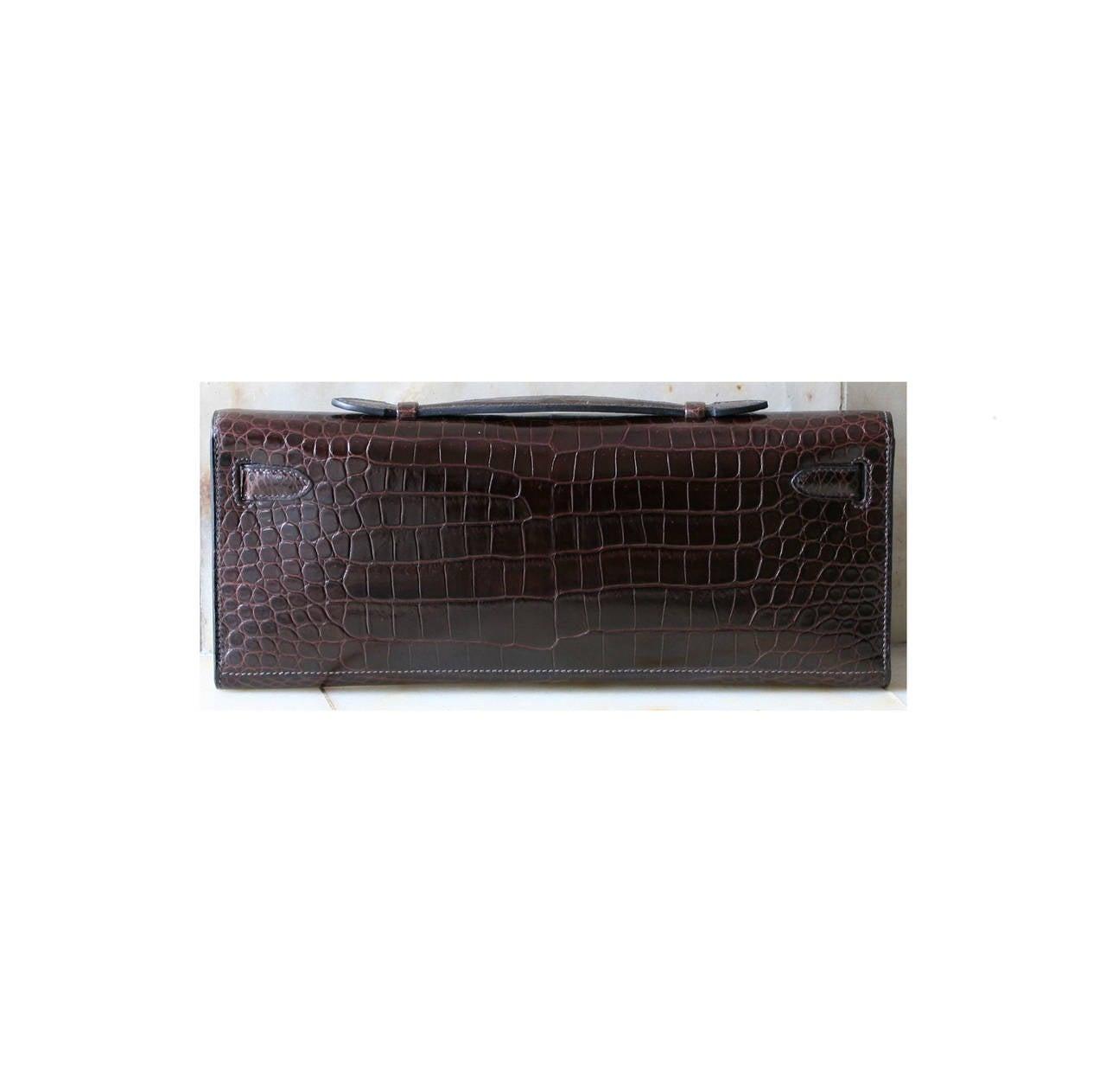 Hermes Black Crocodile/ Porosus Kelly Cut Clutch with Gold Hardware