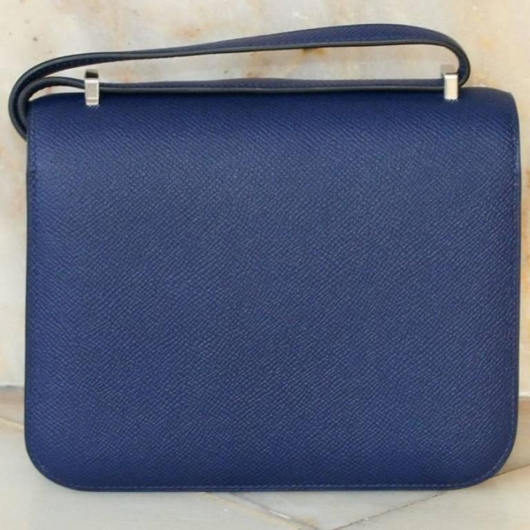 b646f912abe06 HERMES Constance Mini Epsom Sapphire Blue 18' In Fair Condition For Sale In  Monte Carlo