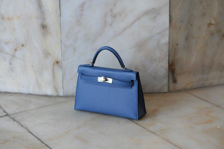 HERMES Mini Kelly Sellier Bleu Agathe 2