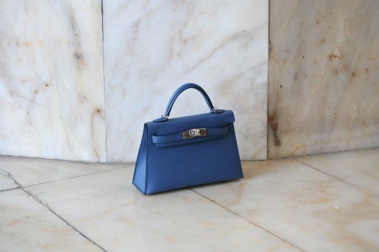 HERMES Mini Kelly Sellier Bleu Agathe 3