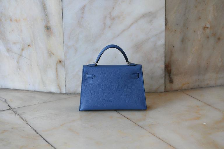 HERMES Mini Kelly Sellier Bleu Agathe 4