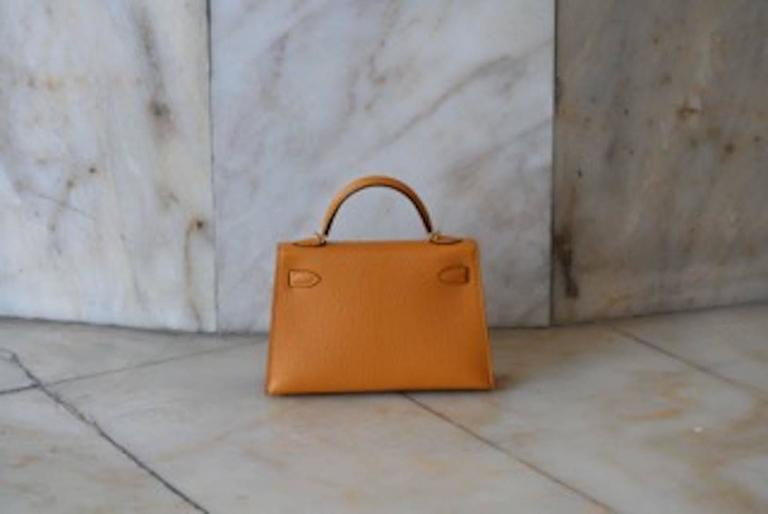 HERMES Mini Kelly Sellier Moutarde In New Condition For Sale In Monte Carlo, MC