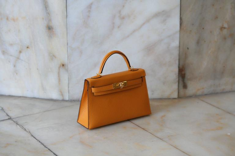 Brown HERMES Mini Kelly Sellier Moutarde For Sale