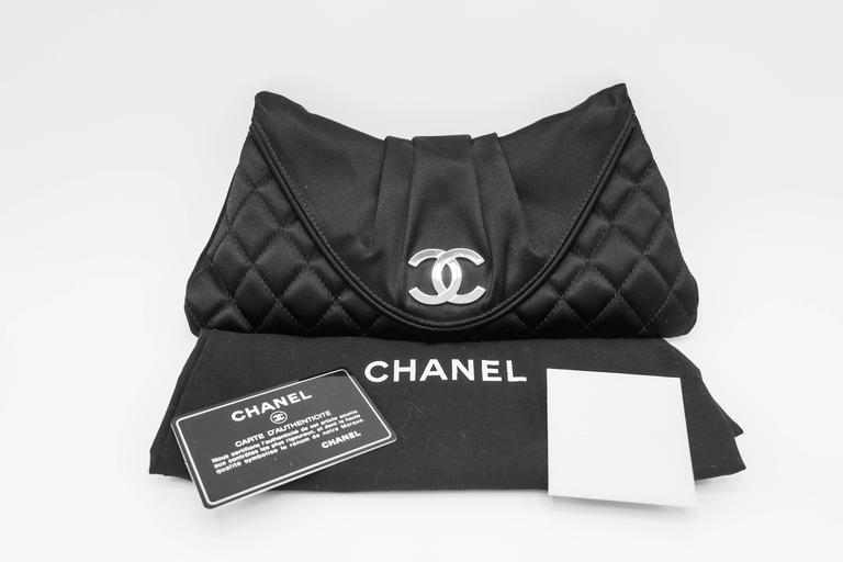 Chanel Black Quilted Satin Half Moon Silver Interlocking CC Clutch 3