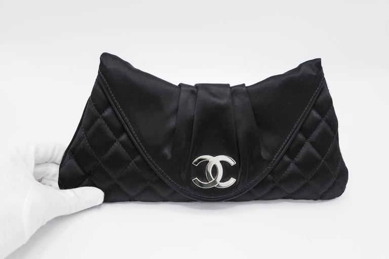 Chanel Black Quilted Satin Half Moon Silver Interlocking CC Clutch 4