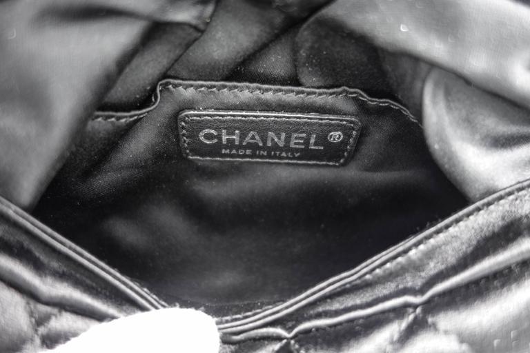 Chanel Black Quilted Satin Half Moon Silver Interlocking CC Clutch 7