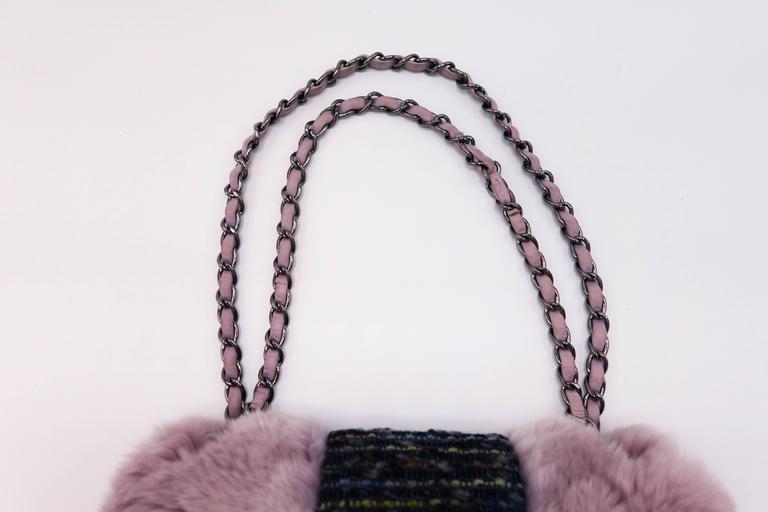 Chanel Tweed Fur Purple Single Flap For Sale 5
