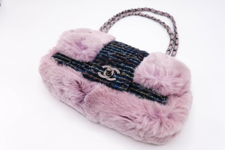 Gray Chanel Tweed Fur Purple Single Flap For Sale