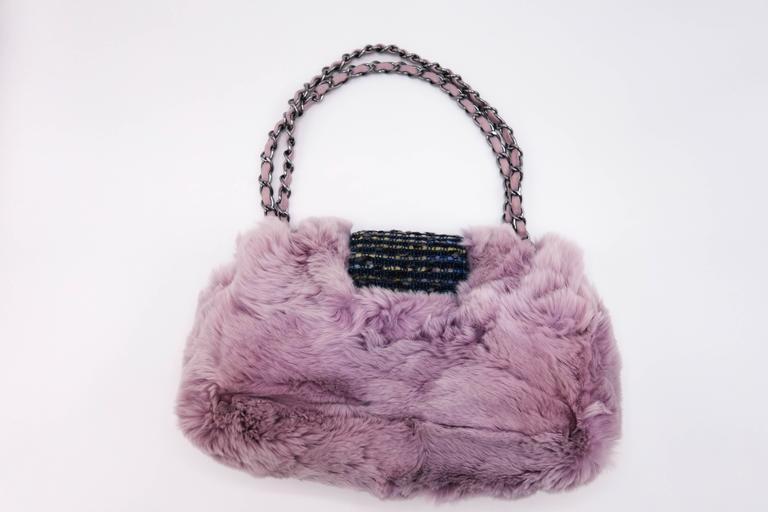Women's or Men's Chanel Tweed Fur Purple Single Flap For Sale