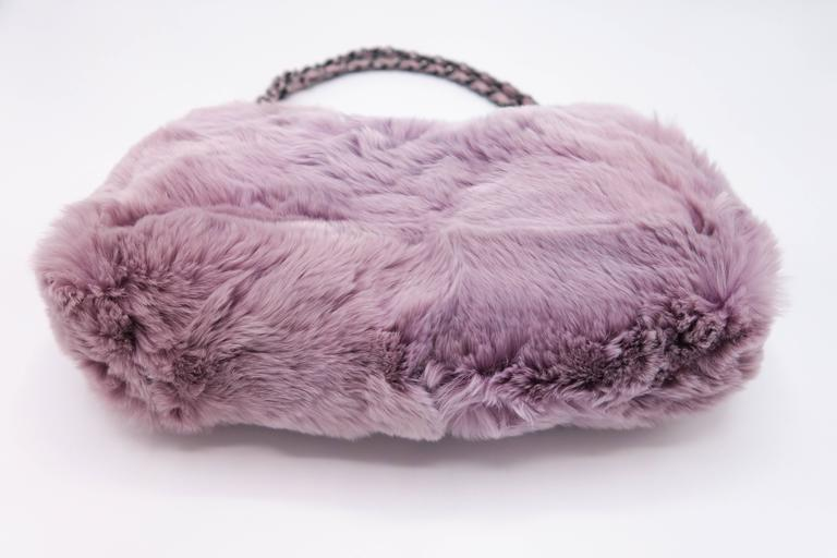 Chanel Tweed Fur Purple Single Flap For Sale 1