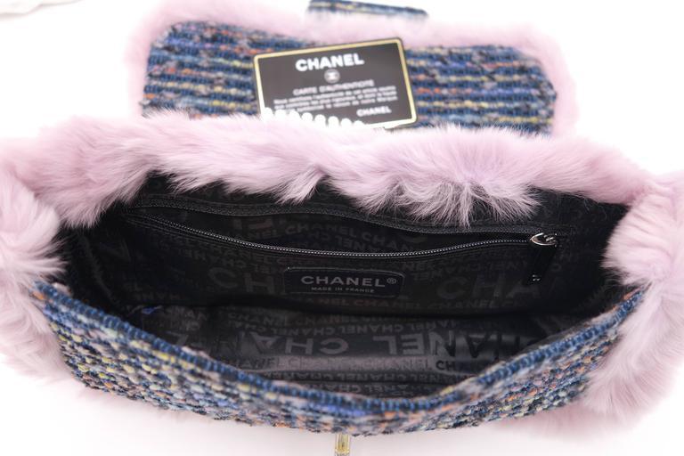 Chanel Tweed Fur Purple Single Flap For Sale 2