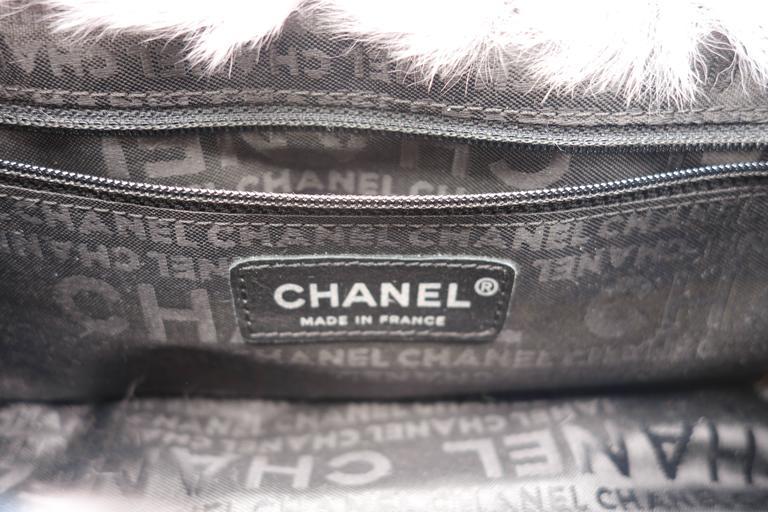 Chanel Tweed Fur Purple Single Flap For Sale 3