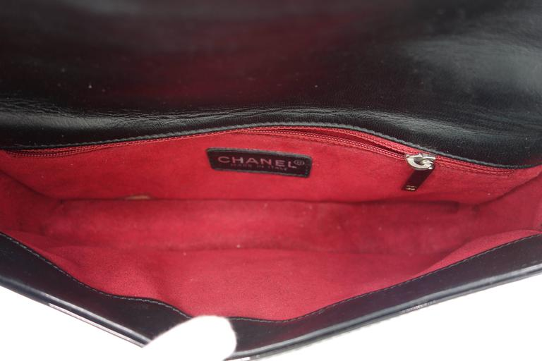 Chanel Patent Black Chocolate Bar with Silver Hardware Bag For Sale 4
