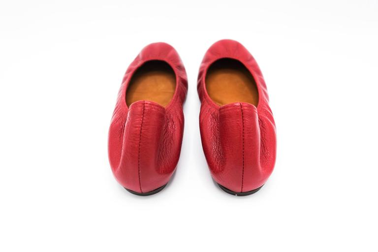 Lanvin Rouge Red Leather Ballet Flats 37.5 4