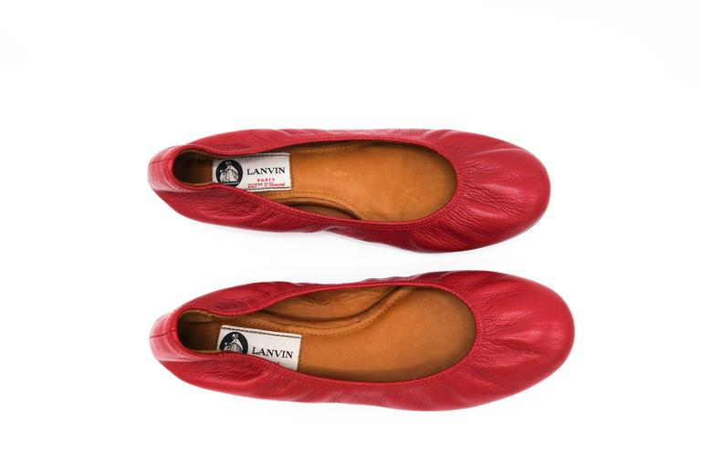Lanvin Rouge Red Leather Ballet Flats 37.5 3