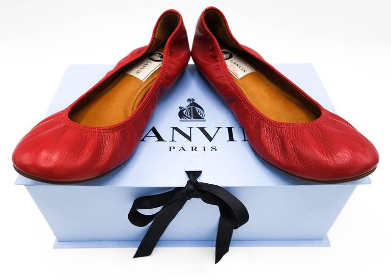 Lanvin Rouge Red Leather Ballet Flats 37.5 2